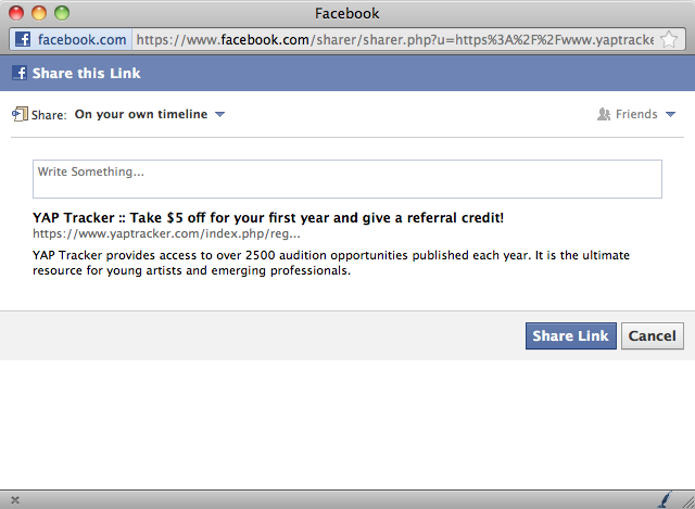 YAP Tracker Facebook popup